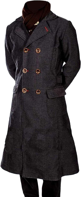 Veste Longue en Trench Noir en Laine Cumberbatch de Sherlock