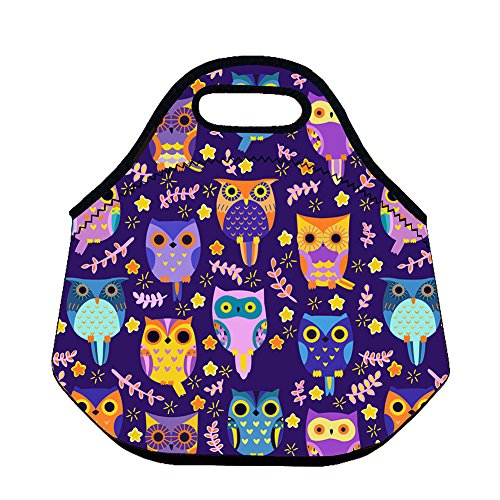 3D Printing Waterproof Neoprene Lunch Bag Box Tote Picnic Bags Insulated Cooler Travel Organizer For School work Office (Owl)