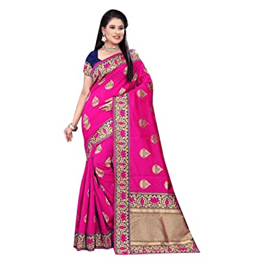 69544bd700e64a Amazon.com: Pink Banarasi Silk Weaving Saree Wedding Contrast Border Blouse  Rich Zari Pallu Sari Indian Formal Women 7291: Clothing