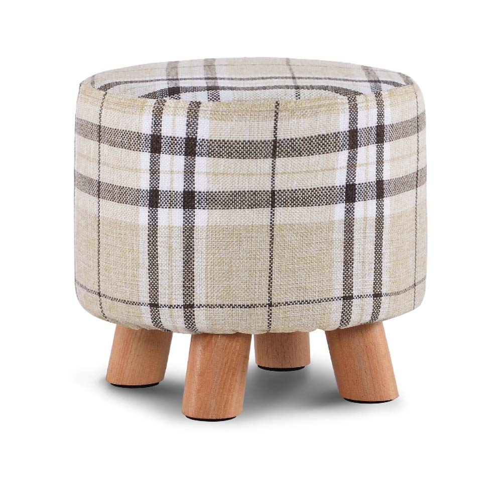 Stripes SYKONG Solid Wood shoes Bench Fashion shoes Stool Creative Square Stool Fabric Stool Stool Sofa Stool Coffee Table Bench Home Stool Upholstered Footstool Linen Round Pouffe Chair Multifunction