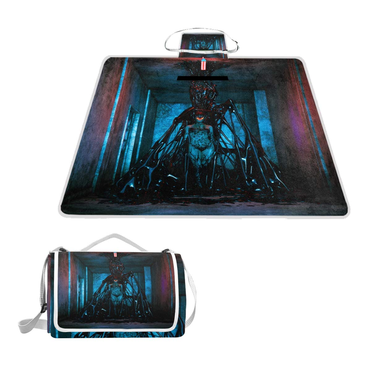 SINOVAL Scary Monster Creatures in Abandoned Building Large Picnic mat Outdoor Rug Waterproof Camping Blanket Beach mat 57X59 inches