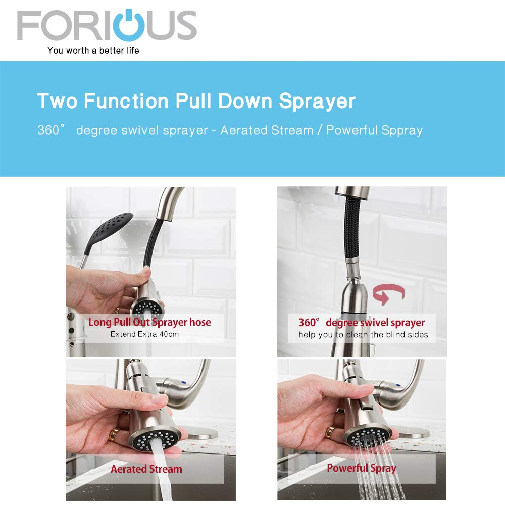 Forious Touchless Kitchen Sink Faucet with Pull Down Sprayer, Single ...