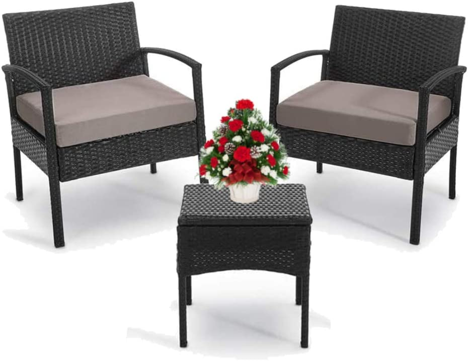 Outdoor Chairs Set Bistro Set 3 Pieces Patio Conversation Set Furniture Set for Small Balcony Rattan Chairs and Table with Cushions Brown