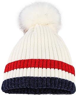 GEMVIE Bonnet en Tricot Femme Fille Doublure Polaire Épais Souple Chapeau  Chaud pour Automne Hiver Pompon 44bc84bca72