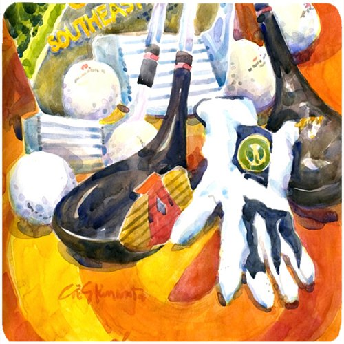 """Price comparison product image Caroline's Treasures 6070FC Southeastern Golf Clubs with Glove and Balls Foam Coasters (Set of 4),  3.5"""" H x 3.5"""" W"""