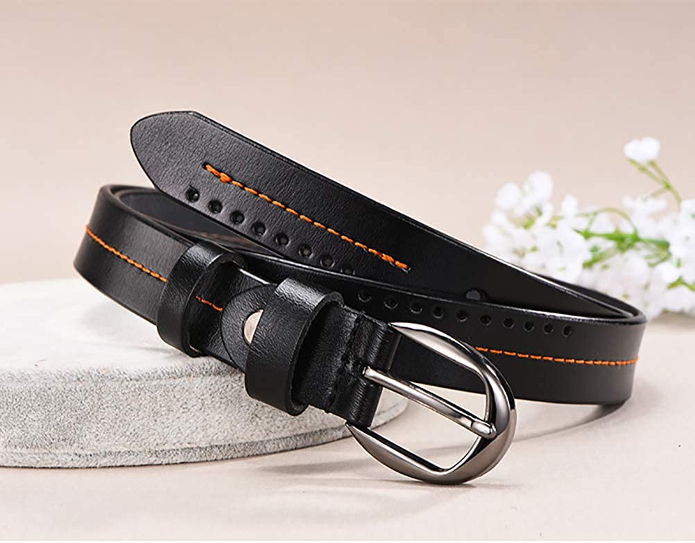 HOBULL Women Leather Belt Waist Skinny Dress Belts Solid Pin Buckle Belt For Jeans Pants