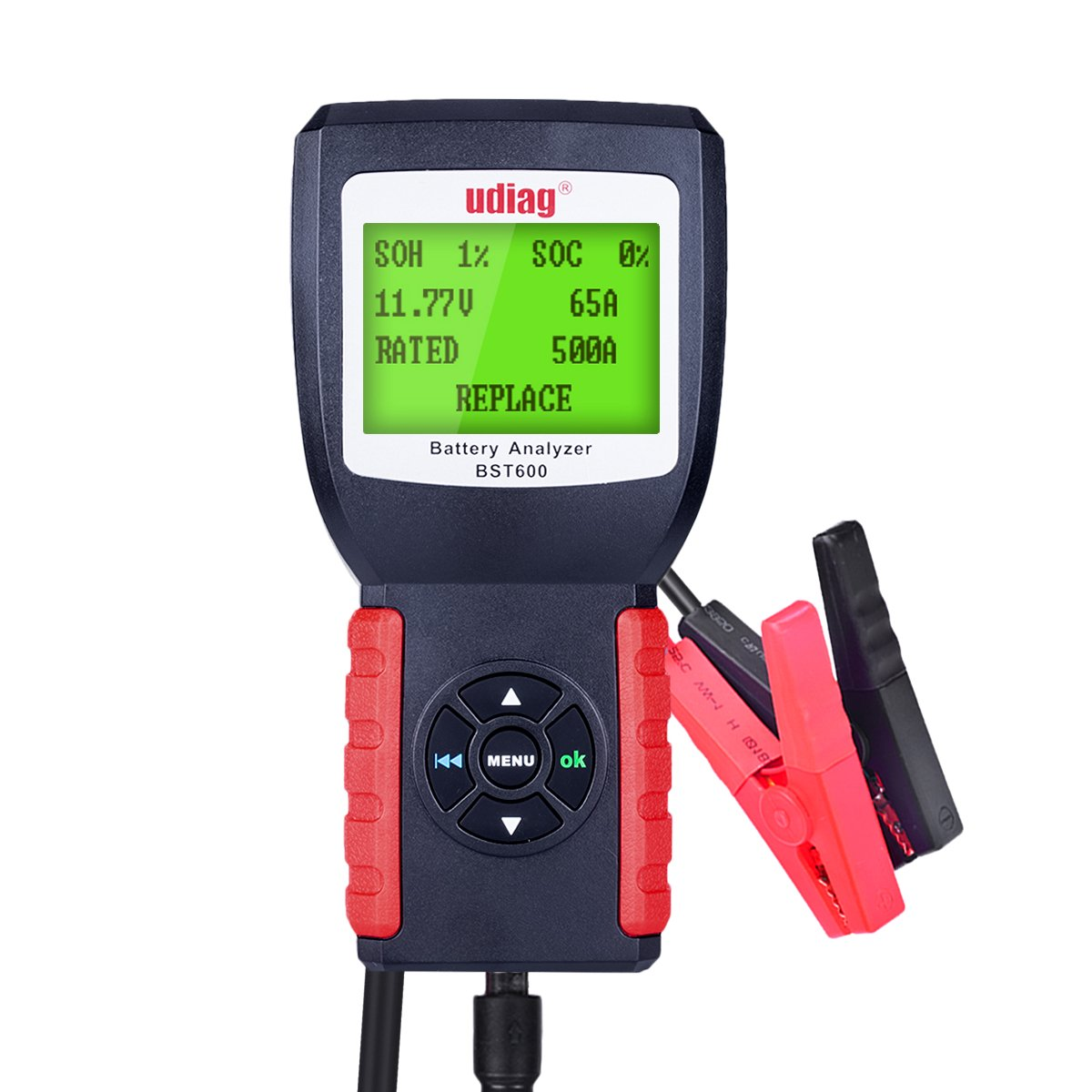 Car Battery Tester, Udiag BST600 Car Battery Analyzer for 12V 100-2000CCA 30-200AH Auto Regular Flooded AGM Flat Plate Gel Batteries Starting and Charging System Red