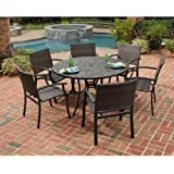 Home Styles 5601-368122 Stone Harbor 7-Piece Dining Set with Table and Newport Arm Chairs, Black Finish, 51-Inch