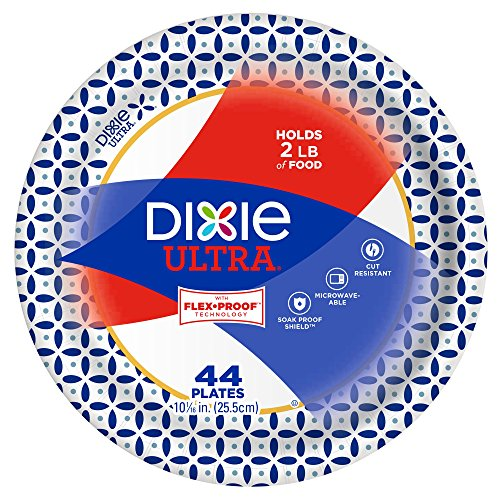 "Dixie Ultra Paper Plates, 10 1/16"", 44 Count, Dinner Size Printed Disposable Plates"
