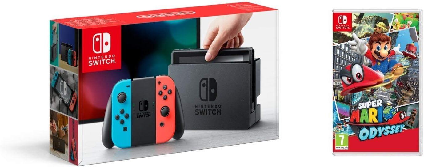 Nintendo Switch - Consola color Azul Neón/Rojo Neón + Super Mario ...