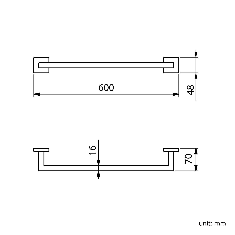 60 cm breit einfache Montage Badetuchhalter f/ür gro/ße Handt/ücher eckig Soak Moderner Handtuchhalter f/ür Badezimmer