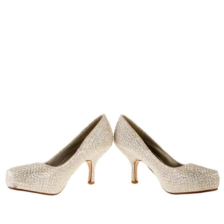 Silver Sparkle Court Shoes Ladies