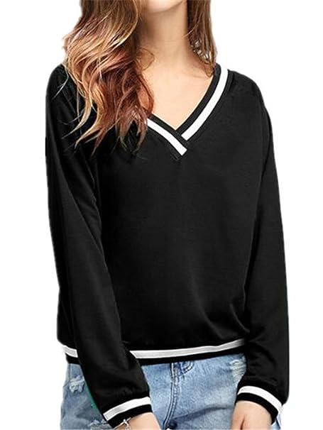 BESTHOO Blusa Mujer Camiseta Casual Elegante AlgodÓN Encaje Cuello Blusas Elegantes Deportivo Tops Suelto Maglia Casuales