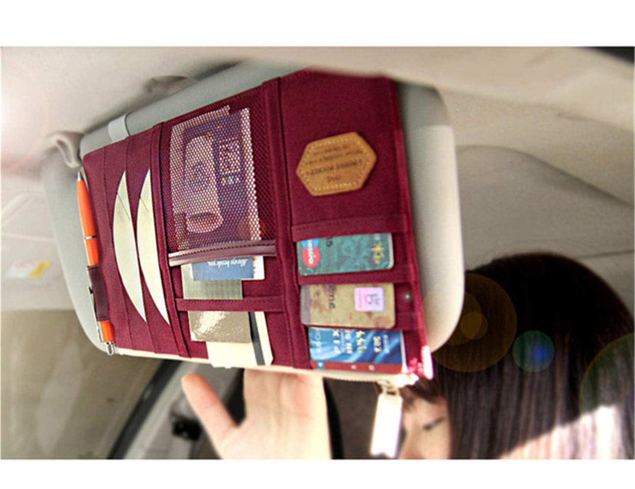 Baiyouli Multi-funci/ón de poli/éster Car Sun Visor Organizador de la Tarjeta y el tel/éfono Bolsa de Almacenamiento de la Bolsa