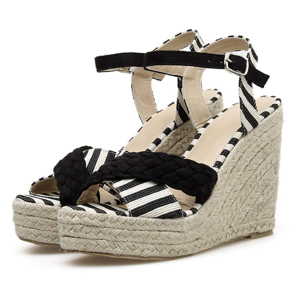 9119ba41b74 Amazon.com  Jiayit Women s Wedge Platform Sandals Open Toe Wedge High Block Heels  Women Pumps Buckle Striped Platform Shoes Peep Toe Party Dance Sandals  ...