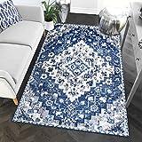 Southwestern Blue Transitional Diamond Rugs 8x10 Living Room Trendy Carpet, 7-Feet 10-Inch by 9-Feet 10-Inch