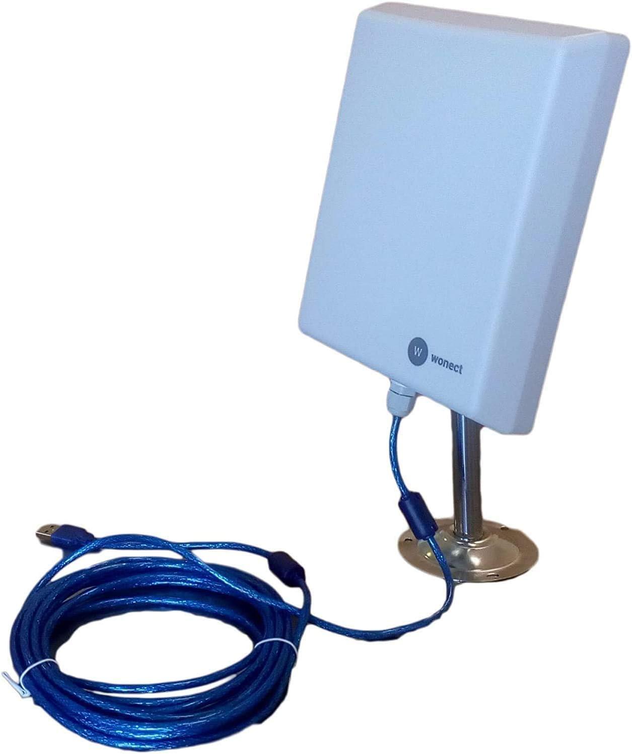 ADAPTADOR WIFI USB PROFESIONAL PARA EXTERIORES SIGNAL KING 2000mW + ANTENA PANEL 20dBi REALES CON 10m DE CABLE ACTIVO USB.