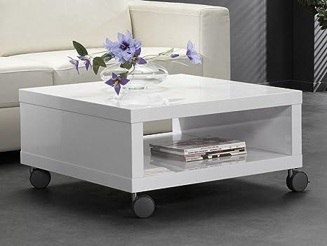 Tavolino Da Salotto Con Rotelle.Tavolino Da Salotto Bianco Lucido Con Ruote Quadrato Amazon