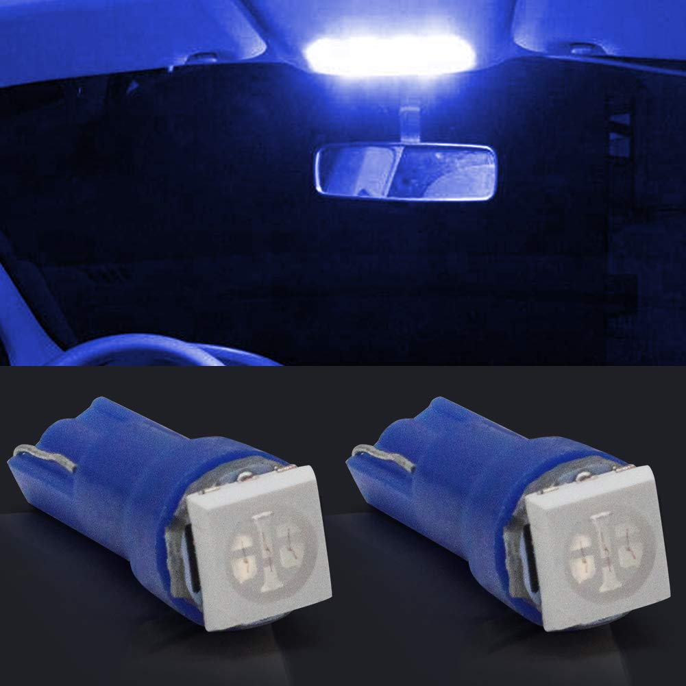Pack of 10 T5 Led Dashboard Bulb Blue 12V Car Led Wedge Bulbs 1-SMD 5050 Replace 74 37 286 18 27