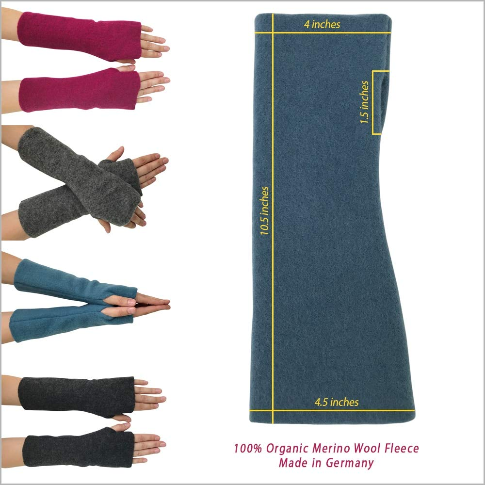 Women's Arm Warmer Sleeves - Fingerless Gloves with Thumb Holes, Pure Merino Wool Fleece (Grey Melange) by EcoAble Apparel (Image #3)