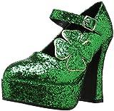 Ellie Shoes Women's 557-Lucky Platform Pump, Green Glitter, 8 M US