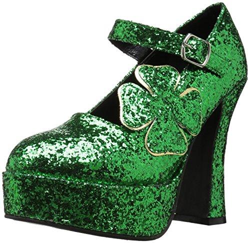Ellie Shoes Women's 557-Lucky Glitter Maryjane Platform Pump, Green Glitter, 6 M US