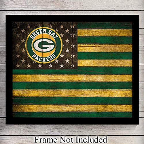 (Green Bay Packers Patriotic Flag Wall Art Print - Perfect Gift for Men, NFL Football & Sports Fans - Great Home Decor for Den, Dorm Room, Man Cave or Office - Shabby Chic - Ready to Frame (8x10) Photo)