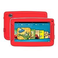 Tablet Android infantil con funda uso rudo para niños, pantalla HD de 7 pulgadas incluyendo almacenamiento interno 8GB,1 GB de RAM, wifi, bluetooth e iwawa preinstalado y control para padres (rojo)