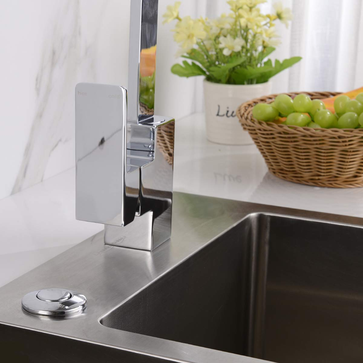 Polished Chrome BESTILL Single Outlet Sink Top Air Switch Kit for Garbage Disposal