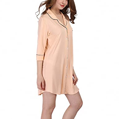 e34ac5558cd8 Nightgowns Soft Home Dress Sexy Nightwear Women Sleepwear Solid ...