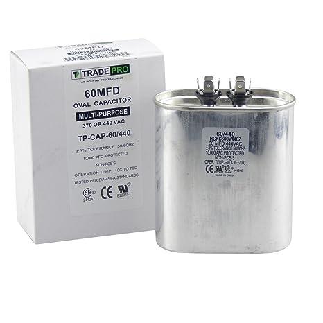 TradePro Condensador DE 60 mfd, Repuesto de Grado Industrial para Aire Acondicionado Central, Bombas