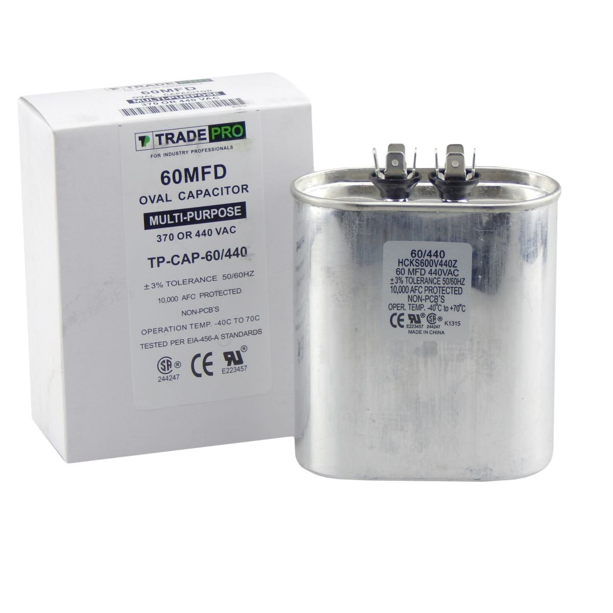 60 mfd Capacitor, Industrial Grade Replacement for Central Air-Conditioners, Heat Pumps, Condenser Fan Motors, and Compressors. Oval Multi-Purpose 370/440 Volt - by Trade Pro
