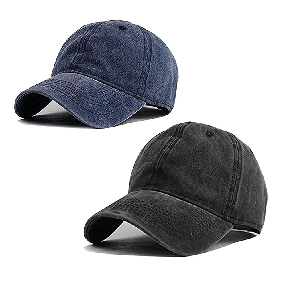 Aedvoouer Unisex Washed Twill Cotton Baseball Cap Vintage Distressed Plain Adjustable Dad Hat (Z-Black/Navy)