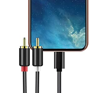 Lightning to RCA Audio Aux Cable, 2-Male RCA Stereo Y Splitter Cord Adapter Compatible with iPhone iPod iPad for Car,Amplifier,Home Theater,Speaker and More (4ft)
