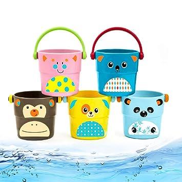Amazon.com: 5 juguetes de baño para bebé, mini cubo de agua ...