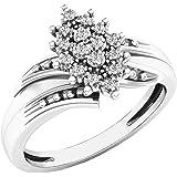 0.10 Carat (ctw) 10K Gold Round White Diamond Ladies Cluster Flower Ring 1/10 CT