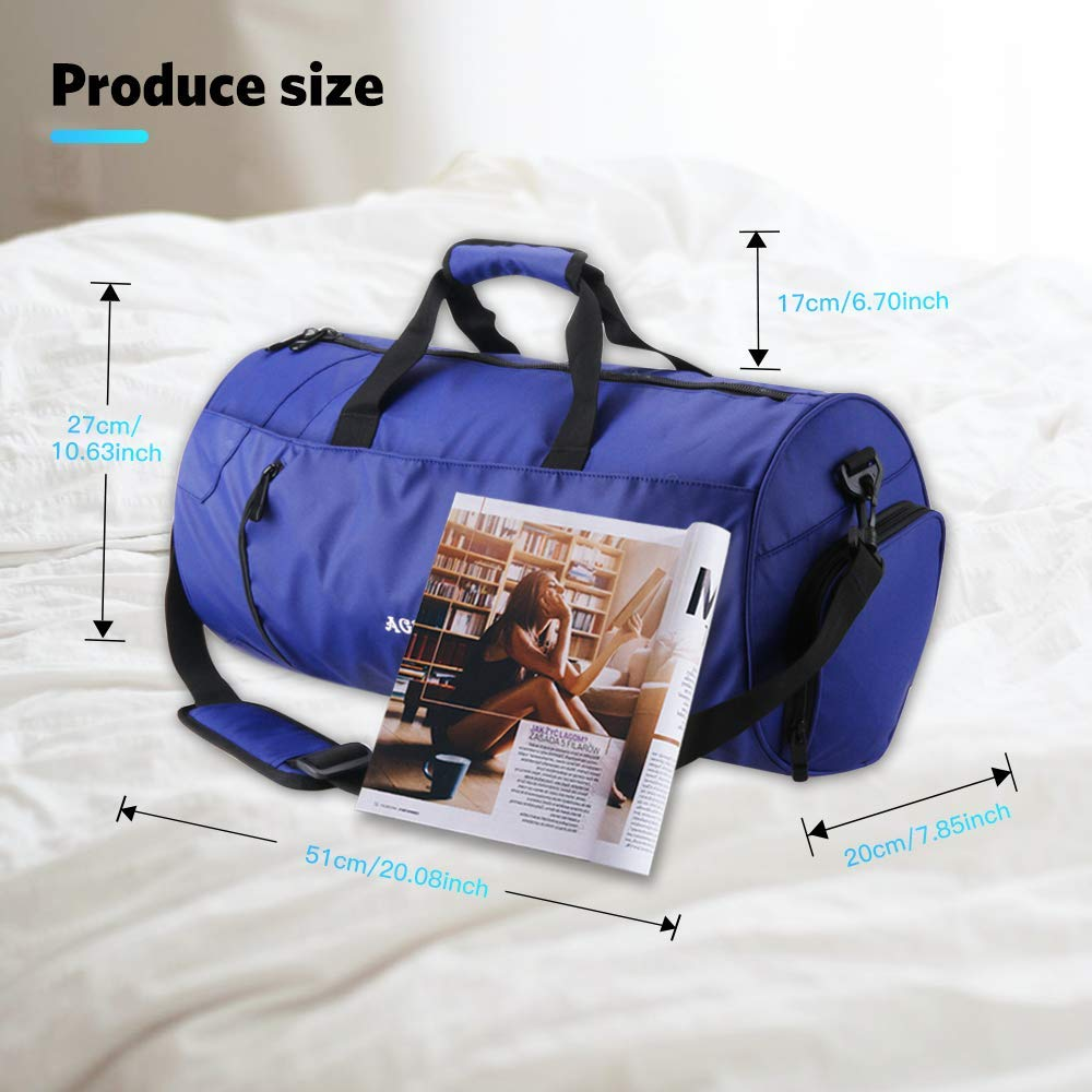 Negro,Rojo AGPTEK Bolsa Deporte y Viaje para Mujer y Hombre con Compartimento de Zapatos y Bolsillo Impermeable,Bolsa de Playa de Multibolsos,Multiuso como Mochila Plegable para Deporte,Nadar Azul
