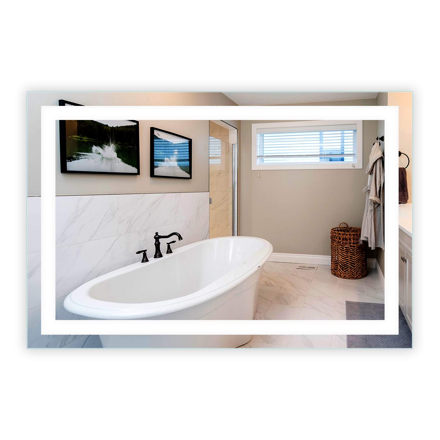 LED Front-Lighted Bathroom Vanity Mirror: 56'' Wide x 36'' Tall - Commercial Grade - Rectangular - Wall-Mounted by Mirrors and Marble