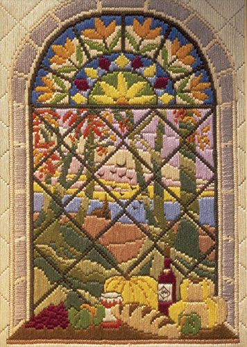 Anchor Maia Autumn Through The Window Long Stitch Kit Stitched in Cotton Floss, 8-3/4 by 5-3/4-Inch (Anchor Stitch Kit)