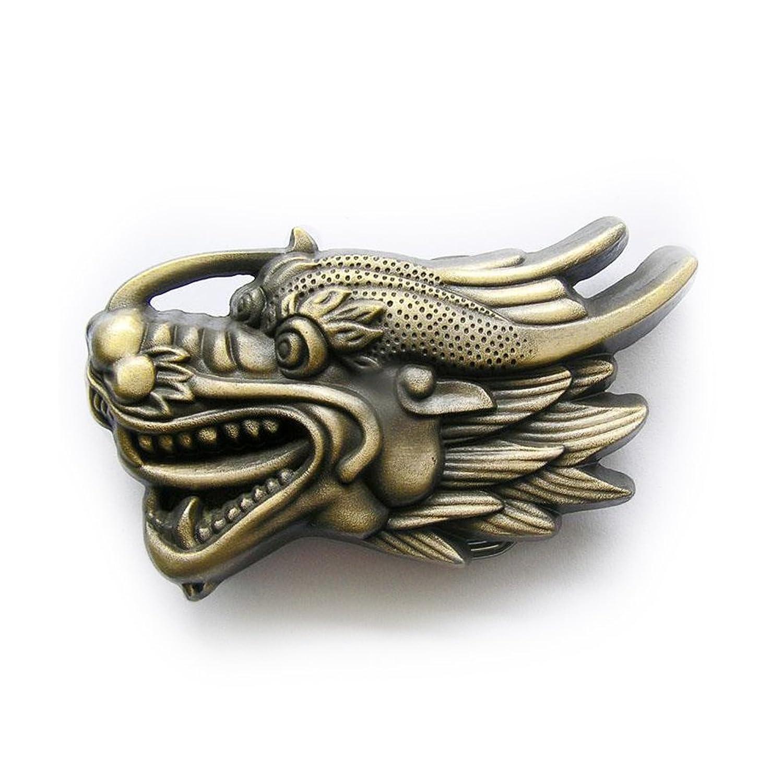 eeddoo® Gürtelschnalle - Flying Dragon - Drache antik (Buckle für Wechselgürtel für Damen und Herren| Belt Frauen Männer Oldschool Rockabilly Metall Gothic Wave Rock Biker Western Trucker Casino Skull