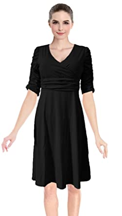 2cea5f1609b Women s 3 4 Sleeve Ruched Waist Classy V-Neck Casual Cocktail Flare ...