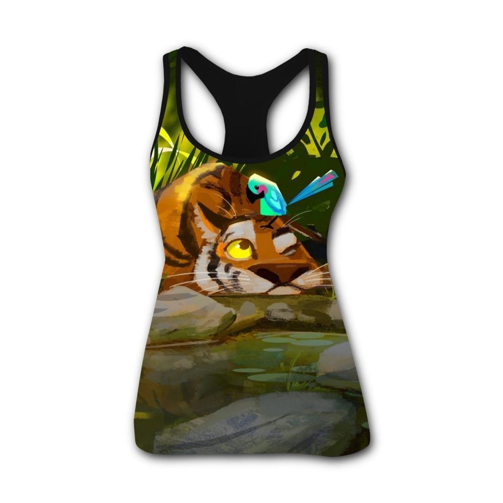 Butterfly & Tiger Good Friends 3D Print Summer Fashion Sleeveless Tanks Vest T-Shirt Women Girl L