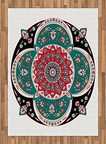 Arabian Area Rug by Ambesonne, Oriental Ornate Embriodery Style Floral Ethnic Illustration of Old Eastern Artistic, Flat Woven Accent Rug for Living Room Bedroom Dining Room, 5.2 x 7.5 FT, Multicolor by Ambesonne