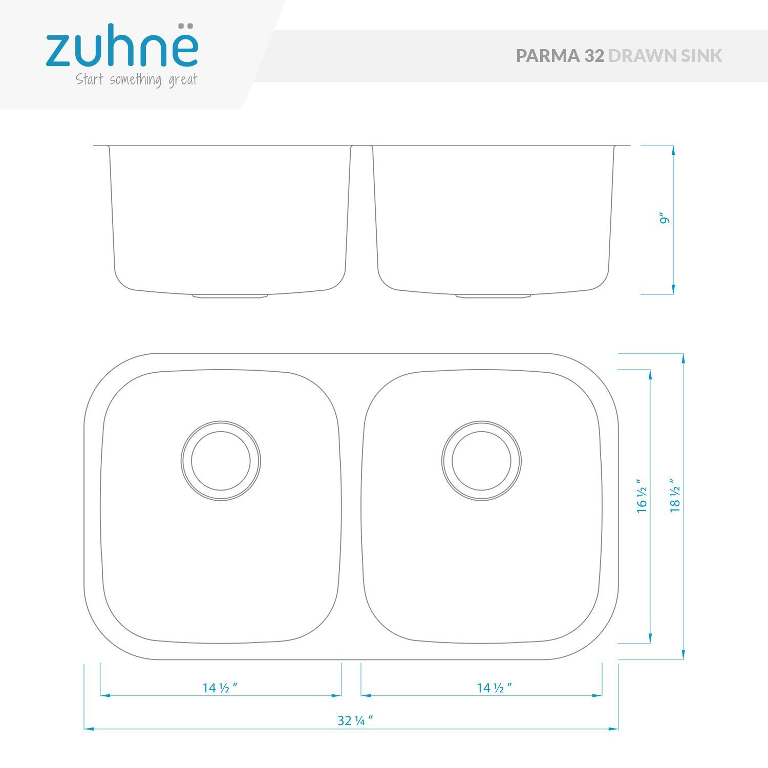 Made in Europe 32 Inch Stainless Steel 50/50 Double Bowl Dual Mount Kitchen Sink with Two Strainers (Installs Over Mount or Under Mount) for 36 Inch Cabinet by Z Sinks (Image #2)