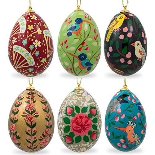 - BestPysanky Set of 6 Flowers and Birds Ukrainian Wooden Easter Egg Ornaments