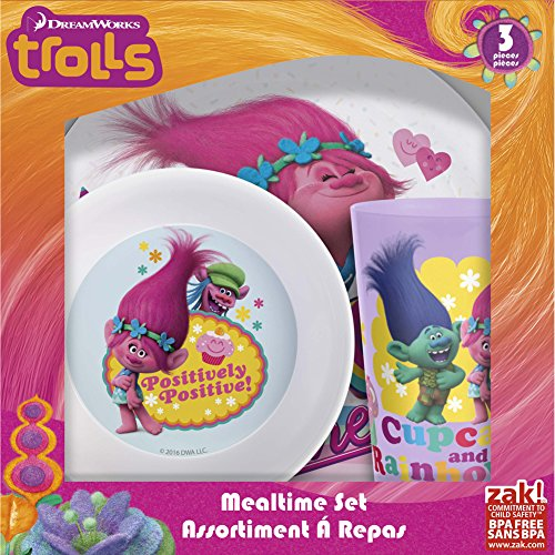 Zak Designs Trolls Movie Plate, Bowl & Cup Gift Set, Poppy, Branch & Cooper by Zak Designs