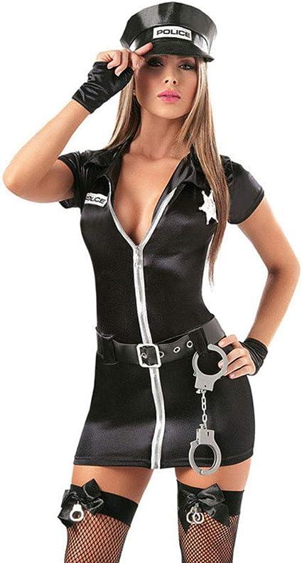 LVLUOYE Traje de Cosplay, policía Traje Policewoman, Halloween Sexy policía Cosplay Sexy lencería,S: Amazon.es: Hogar