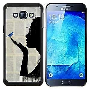 Pintura libro Fairytale Blue Bird- Metal de aluminio y de plástico duro Caja del teléfono - Negro - Samsung Galaxy A8 / SM-A800