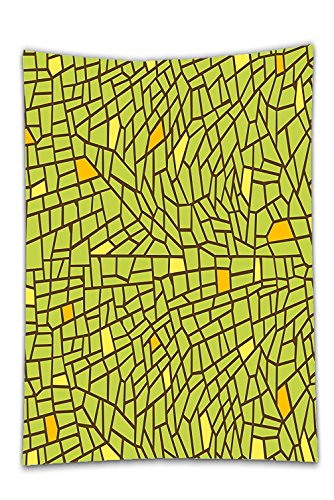 Interestlee Satin drill Tablecloth?Green Decor Conceptual Stained Glass Design Mosaic Pavement Cracked Like Pieces Green Orange Yellow Dining Room Kitchen Rectangular Table Cover Home (Texas Holdem Stained Glass)