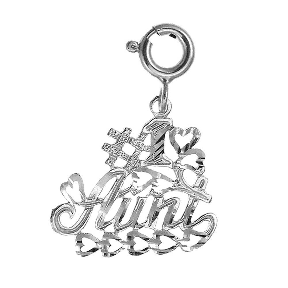 14K White Gold #1 Aunt Pendant 20 mm Jewels Obsession #1 Aunt Charm Pendant